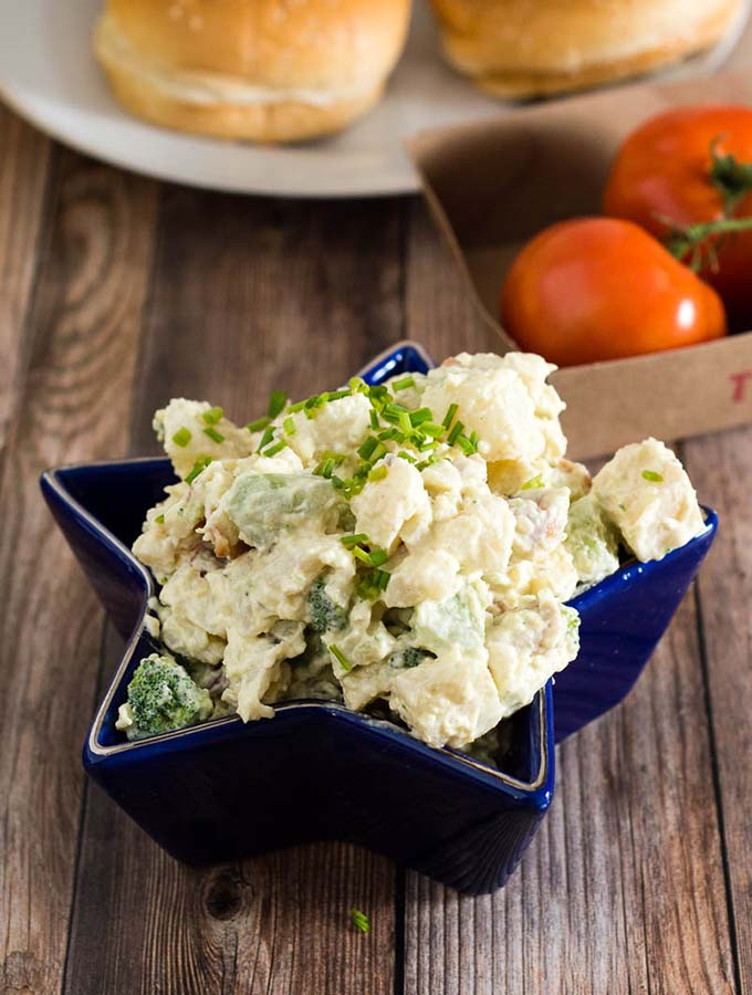 This isn't your mom's potato salad. It's loaded potato salad, with bacon, broccoli and cheddar — all the best parts of a loaded baked potato in a cool summer side dish. #ProgressiveEats