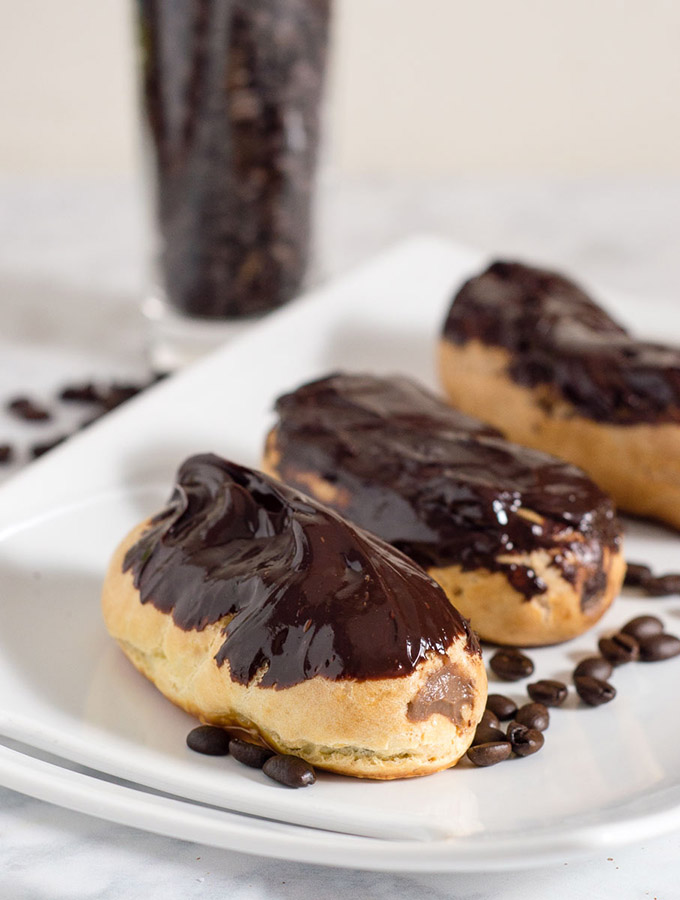 Mocha eclairs are filled with pastry cream flavored with chocolate and coffee extract — what better pastry to serve at a brunch? #BrunchWeek