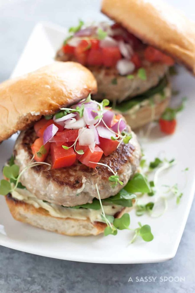 Spicy Tuna Steak Burgers with Wasabi Mayo by A Sassy Spoon