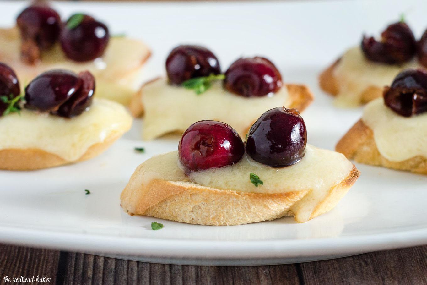 Tired of the same old appetizers? Try this cherry bruschetta — toasted baguette slices are topped with melted brie, beer-soaked cherries and fresh thyme.