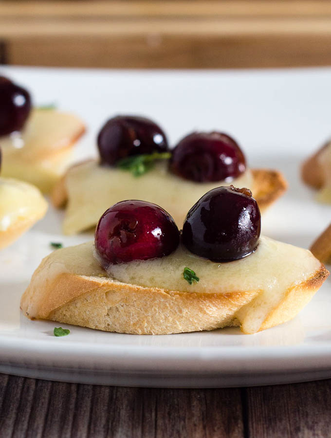 Brie and Beer-Soaked Cherry Bruschetta