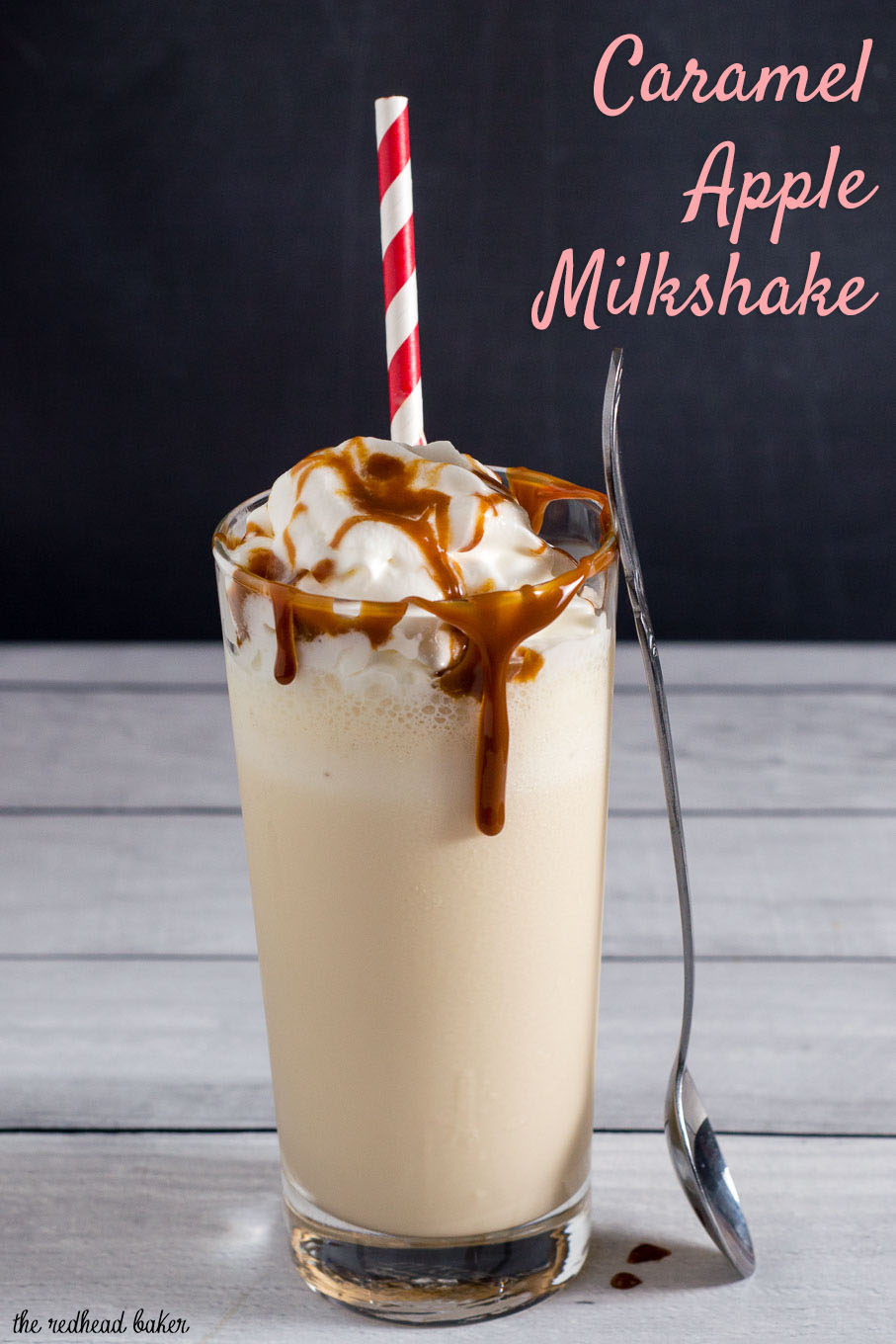 This caramel apple milkshake is a simple and delicious treat of blended vanilla ice cream, apple cider and caramel sauce.