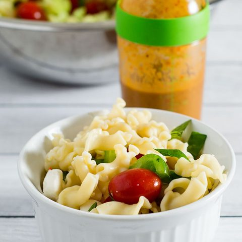 Garden pasta salad combines pasta with fresh garden vegetables, basil, and mozzarella cheese. Serve as a side salad, or add chicken or shrimp to make it a main dish.