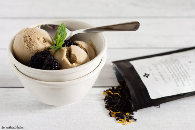 Summer Peach Sweet Tea Ice Cream is infused with loose tea leaves from The Art of Tea's Summer Peach blend and sweetened with brown sugar. #sponsored