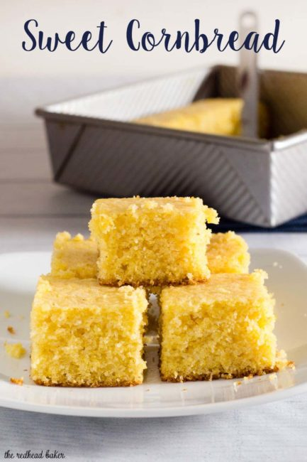 Sweet cornbread is a classic cookout side dish. This recipe is buttery and moist, all that's needed is a drizzle of honey! #CookoutWeek