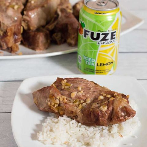 Nothing says summer more than pork ribs marinated in Hawaiian flavors like pineapple juice, soy sauce and ginger. This recipe will easily feeds the crowd at your next summer get-together. #SummerRefreshment #Peapod
