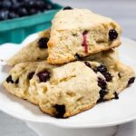 These blueberry scones are sweetened with lavender honey, whose floral sweetness is a delicious complement to the tangy berries.