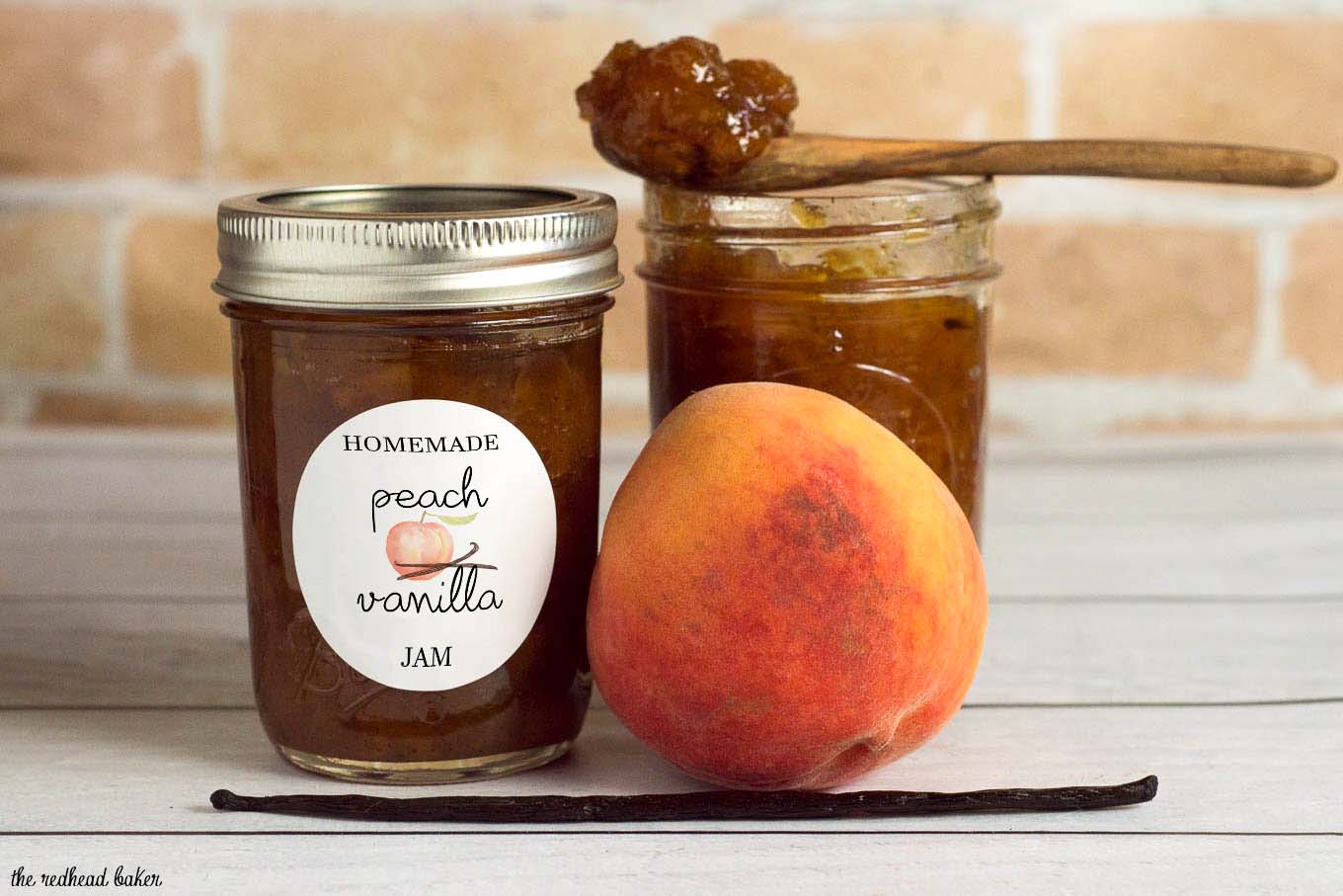 Peach vanilla jam sweetened with honey is canned using the waterbath method (no pectin needed!), so you can have a taste of summer all year long!