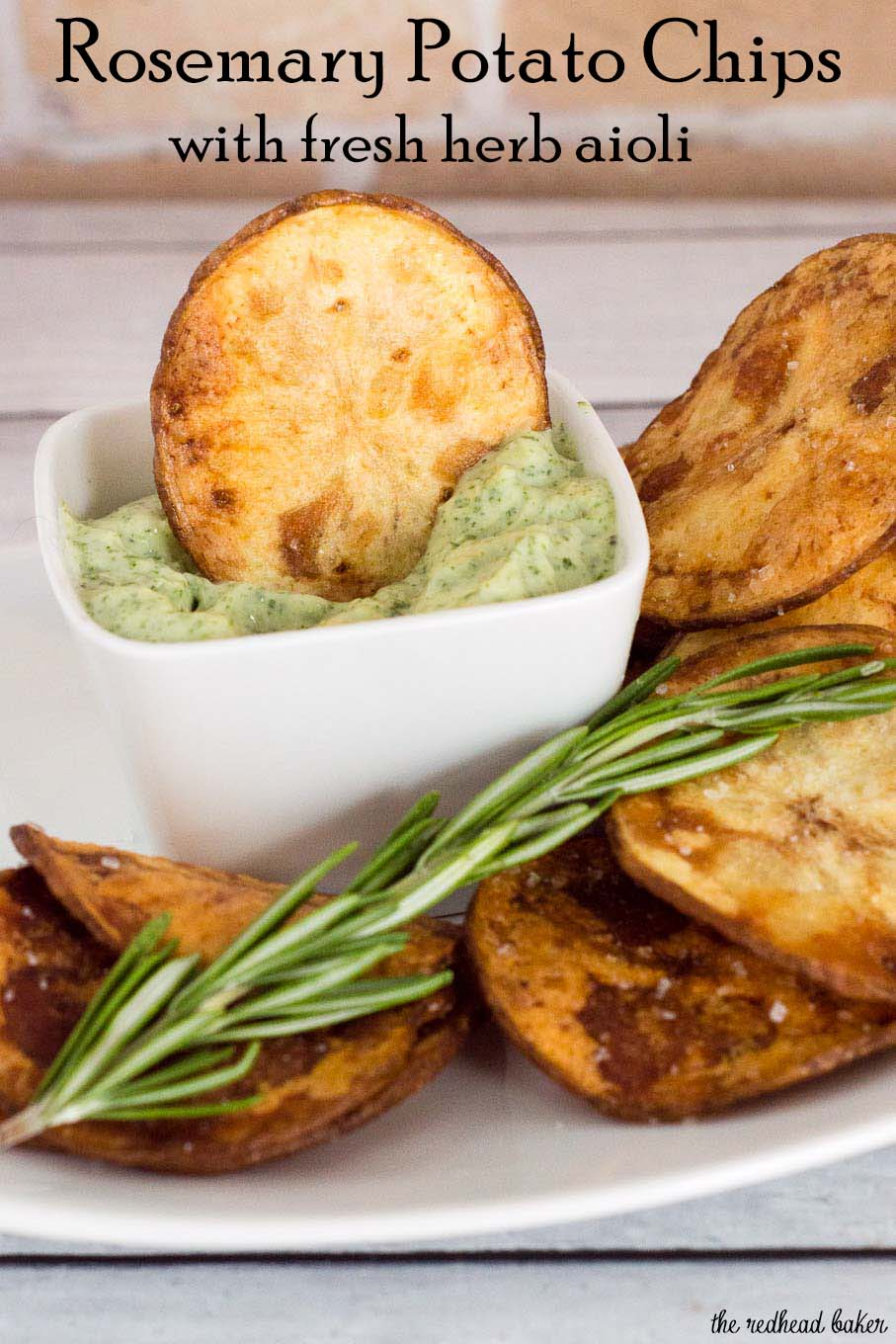 Rosemary potato chips: you can't get this flavor in a bag of store-bought chips! Dunk these crispy chips in a dip of fresh herb aioli for even more flavor. #ProgressiveEats