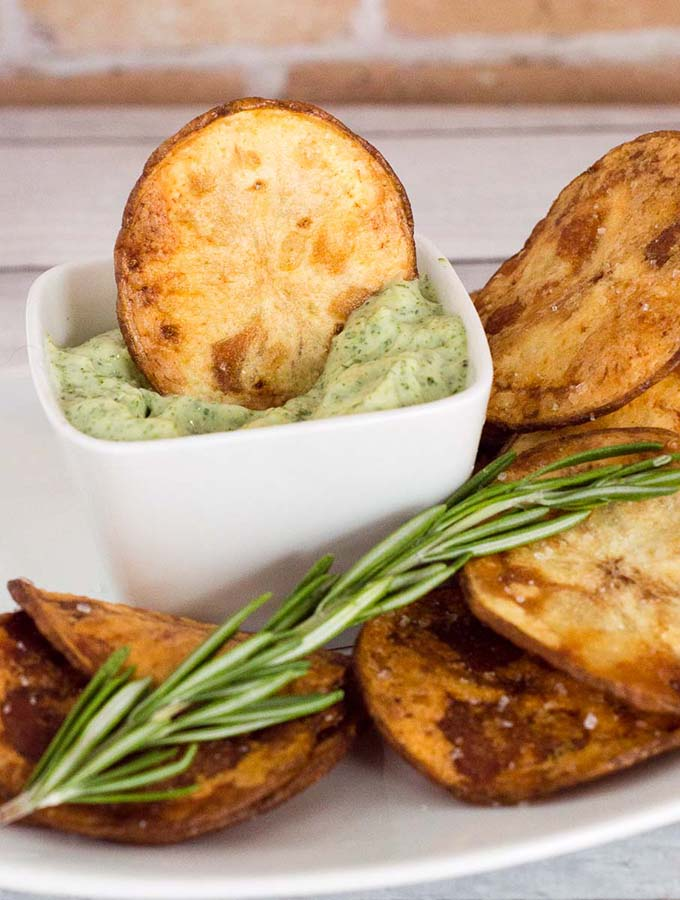 Rosemary Potato Chips with Herb Aioli #ProgressiveEats