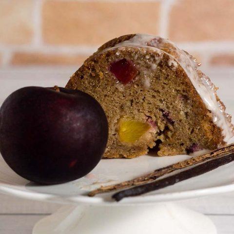 Vanilla Bean Bourbon Plum Bundt Cake