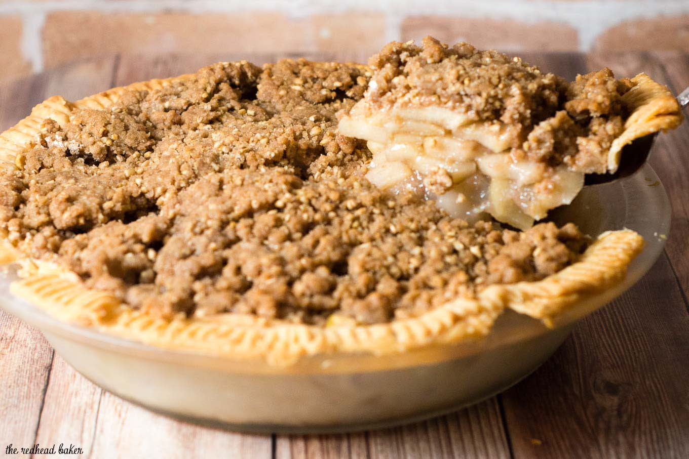 Classic apple pie gets a twist with a cinnamon-spiced oat crumb topping that adds texture and flavor. It's the perfect dessert for any fall occasion!#AppleWeek