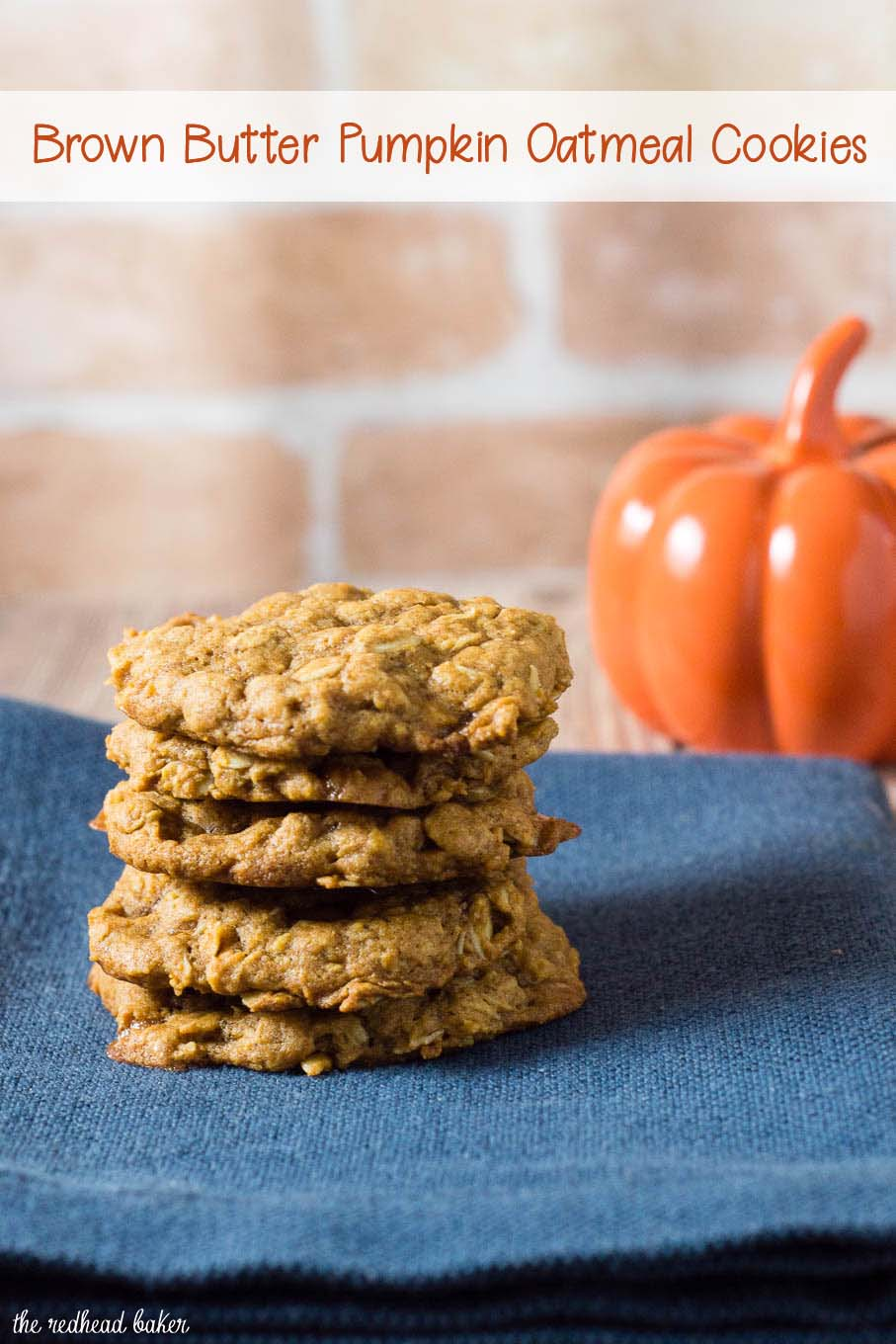 These chewy pumpkin oatmeal cookies are flavored with spices and nutty browned butter, and are loaded with caramel chips. #PumpkinWeek