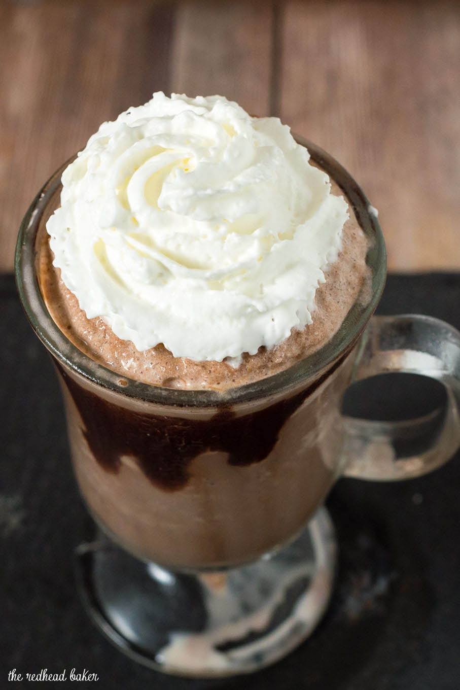 Creamy, delicious frozen hot chocolate is a fun twist on a classic treat. The texture is more like a blended cappuccino beverage than a milkshake. #Choctoberfest
