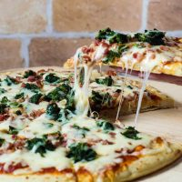 Spinach, Pancetta and Fontina Pizza