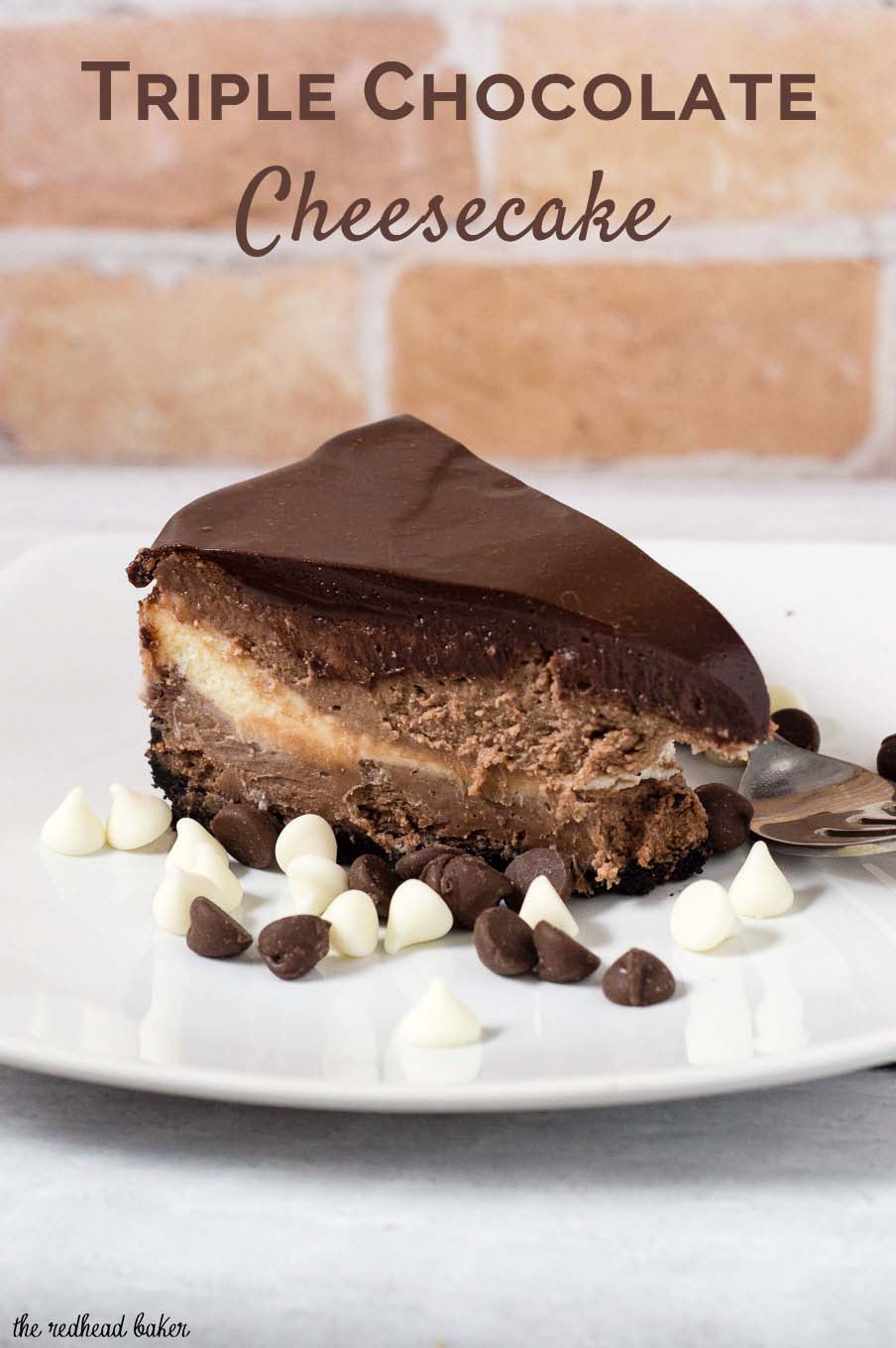 Triple Chocolate Cheesecake #Choctoberfest | The Redhead Baker