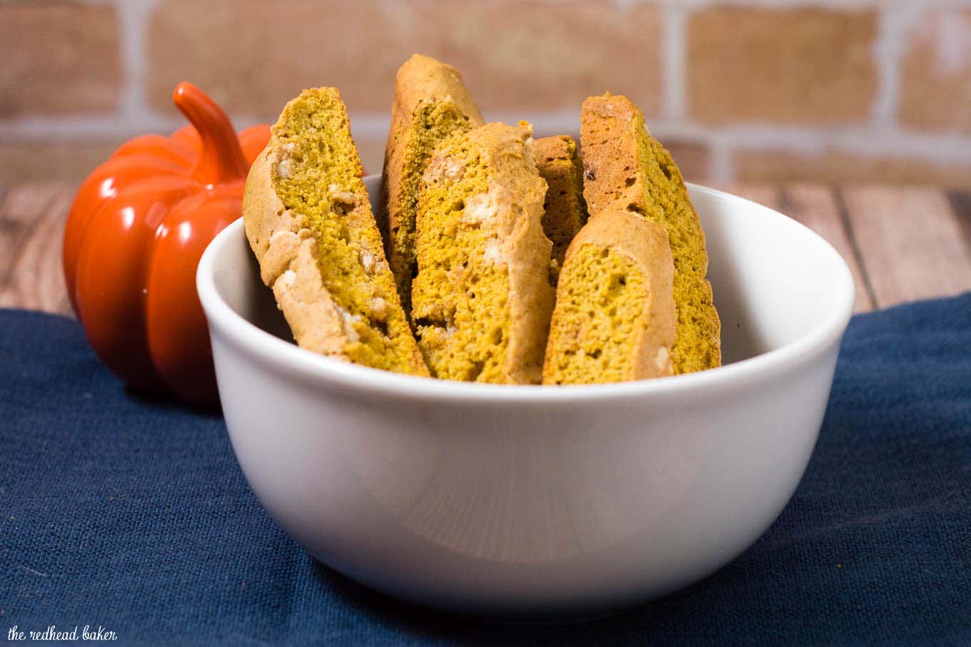 Pumpkin biscotti is a little more tender than traditional Italian biscotti. Pair with a warm cup of coffee for brunch or a light snack. #PumpkinWeek