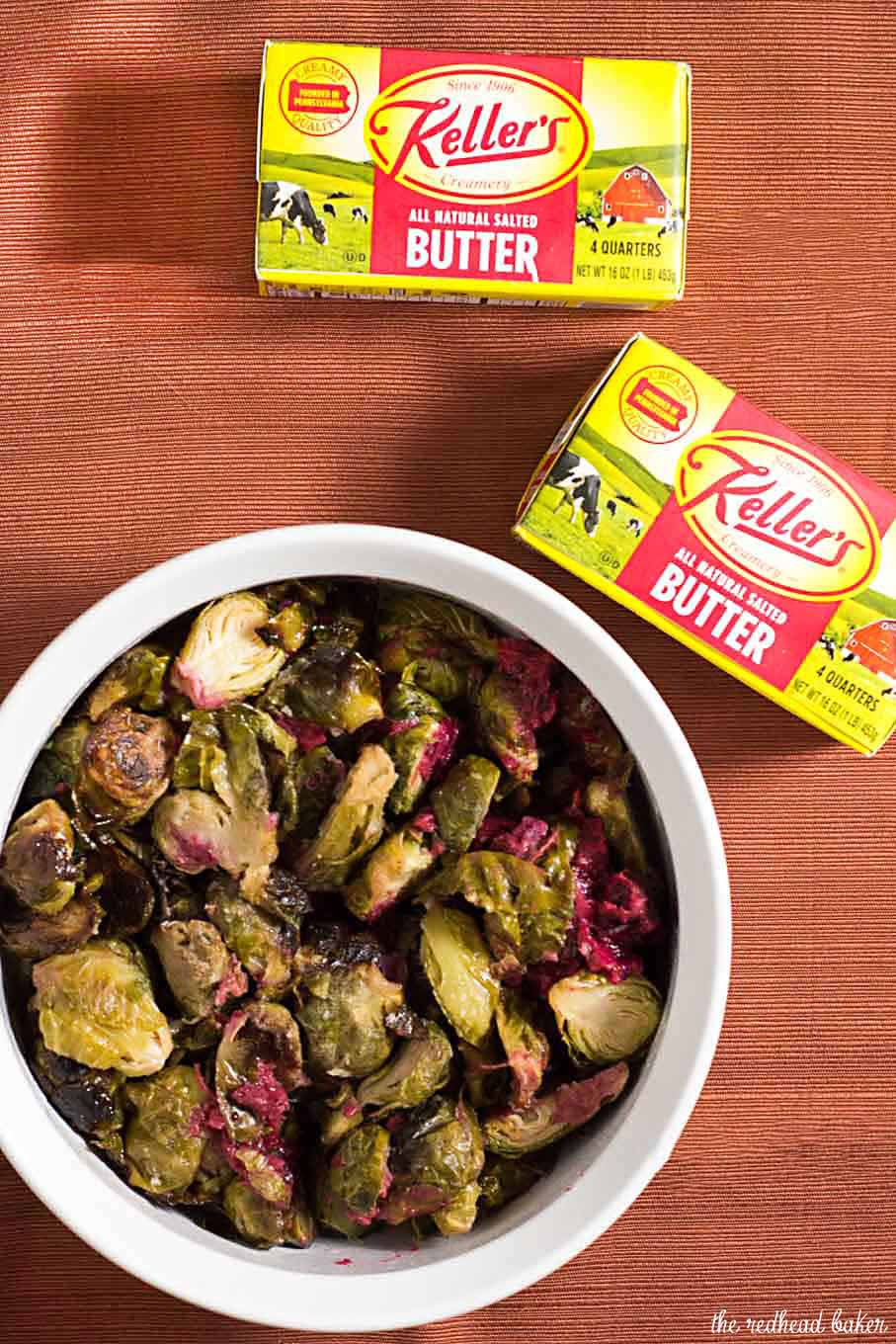 Roasted brussels sprouts are tender and sweet, and tossing them with a cranberry brown butter sauce adds a savory-sweet flavor.