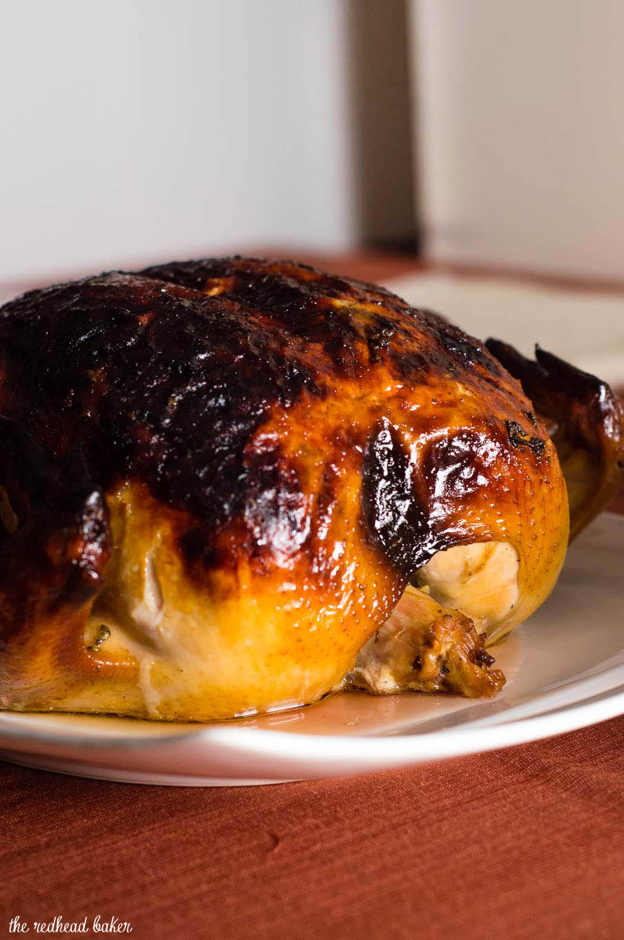 Cider-sage brined turkey has delicious fall flavor, making it the perfect Thanksgiving bird. The brine ensures the turkey stays moist, and sage compound butter crisps the skin.