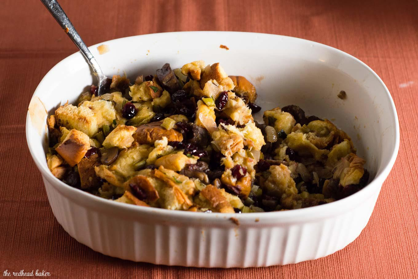 Cranberry Chestnut Brioche Stuffing is a flavorful side dish for your Thanksgiving table. Rich brioche bread is dotted with cranberries and chestnuts.