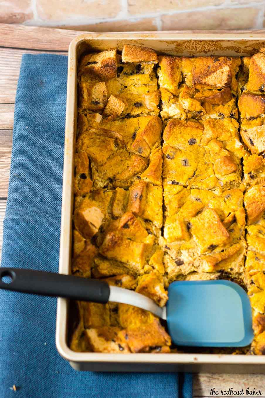 Pumpkin chocolate chip brioche bread pudding is a warm, comforting fall dessert, perfect for the holidays or any chilly night. Top with vanilla ice cream or caramel sauce.