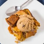 Pumpkin chocolate chip broiche bread pudding is a warm, comforting fall dessert, perfect for the holidays or any chilly night. Top with vanilla ice cream or caramel sauce.
