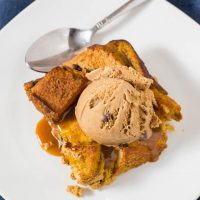 Pumpkin Chocolate Chip Brioche Bread Pudding