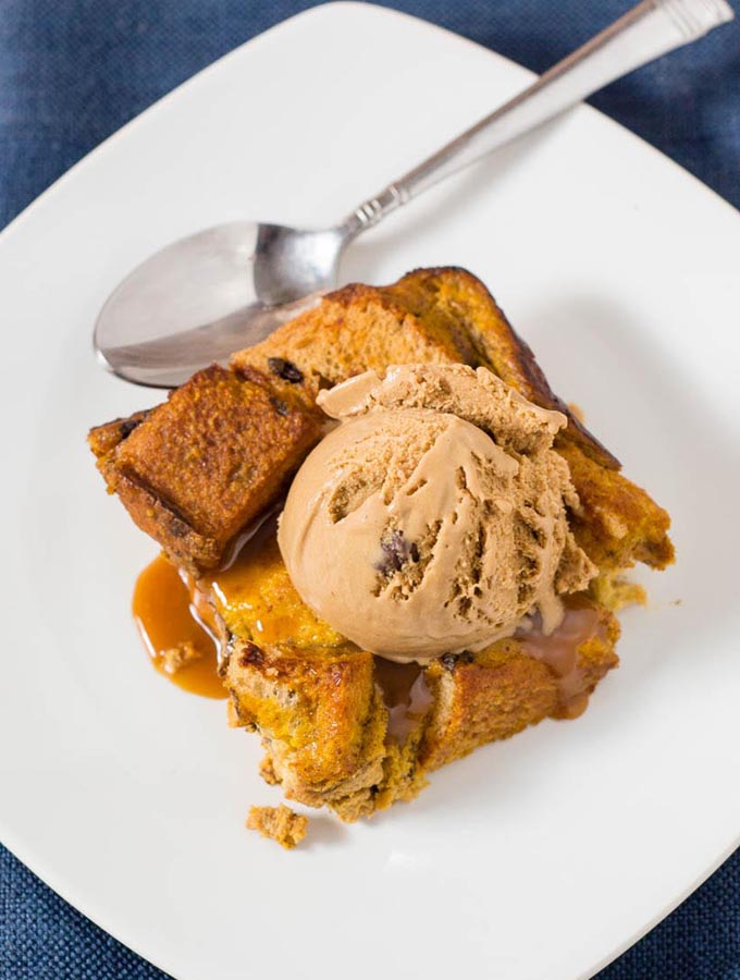 Pumpkin Chocolate Chip Brioche Bread Pudding