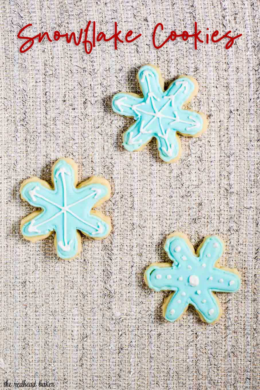 Let it snow with these adorable snowflake cookies! Perfect for any winter party, decorate each in a unique pattern, just like real snowflakes!  #ChristmasCookies
