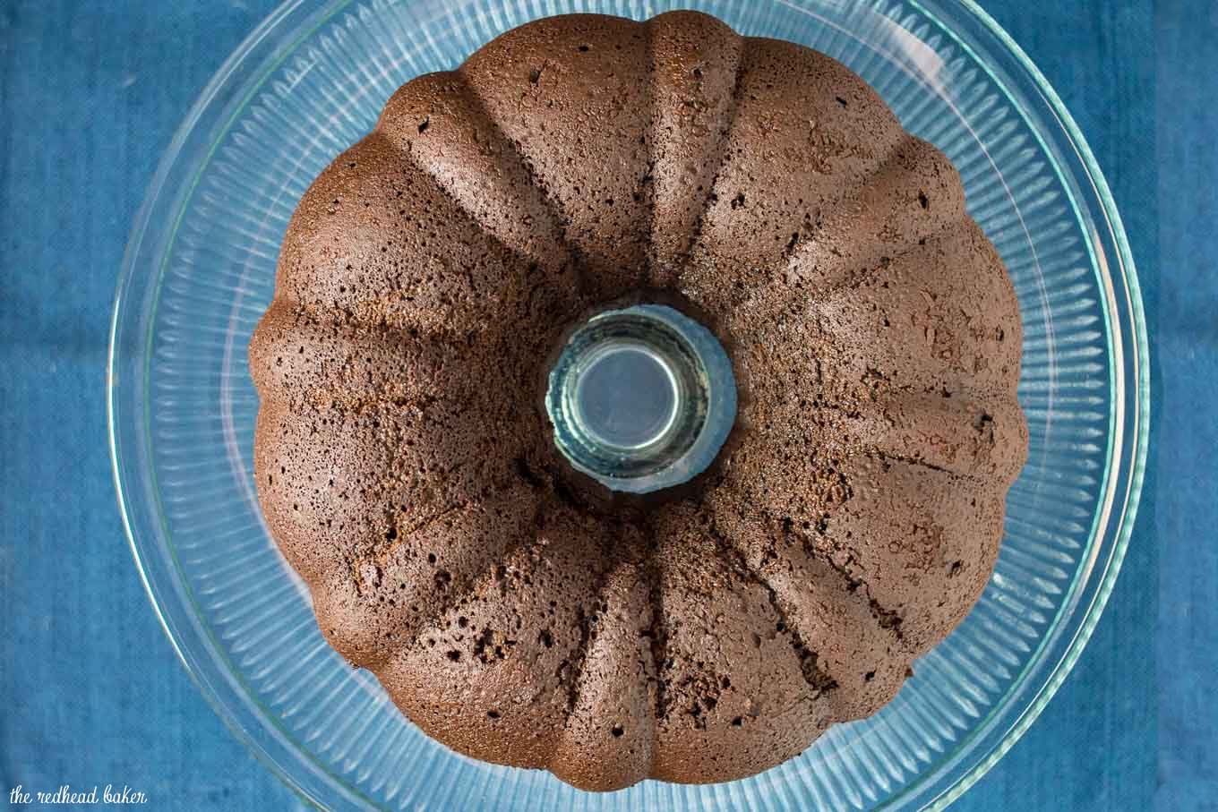 An overhead view of un-iced fudgy chocolate bundt cake.