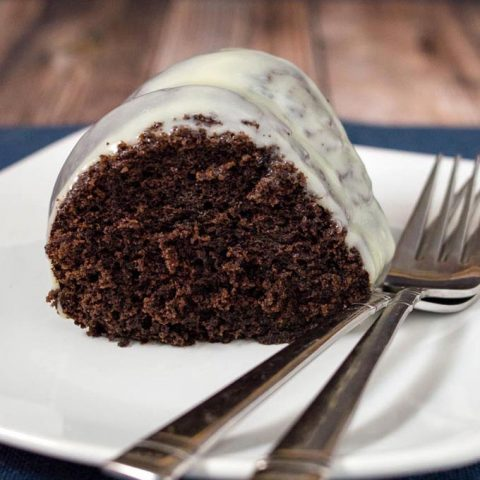 A close-up shot of fudgy-chocolate bundt cake
