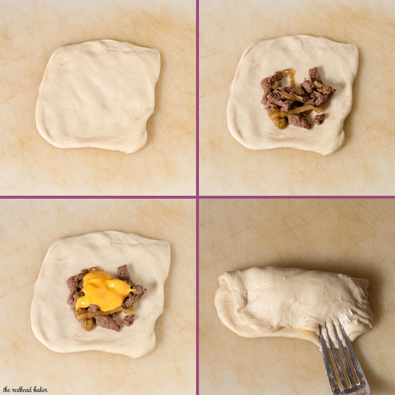 A collage showing the steps to make an empanada: first, flatten the dough into a circle, then place the steak and onion filling, then add the cheese, then fold and crimp.