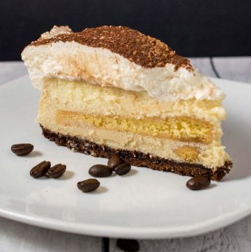A slice of tiramisu cheesecake