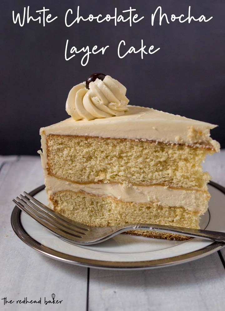 A side view of a slice of white chocolate mocha layer cake.