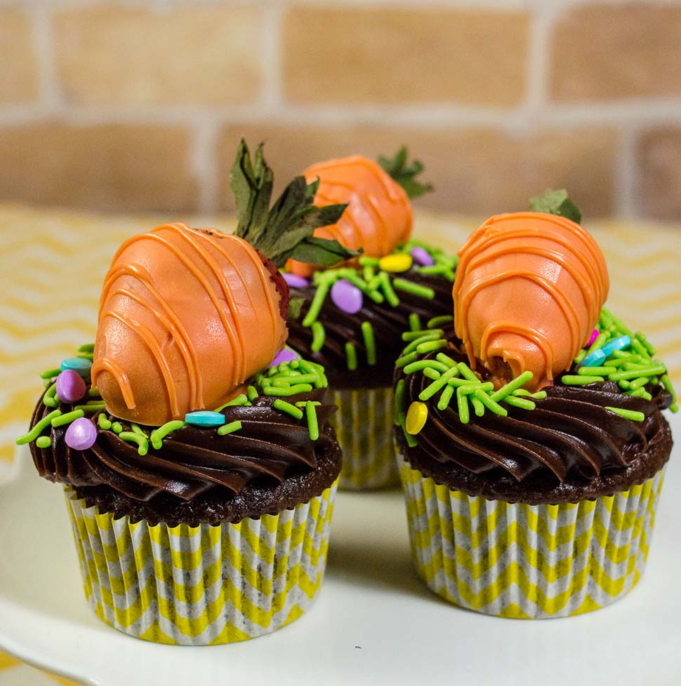 The Easter Bunny will surely stop at your house if you make these adorable Carrot Patch Chocolate Cupcakes, topped with strawberries coated in orange-colored vanilla candy coating.