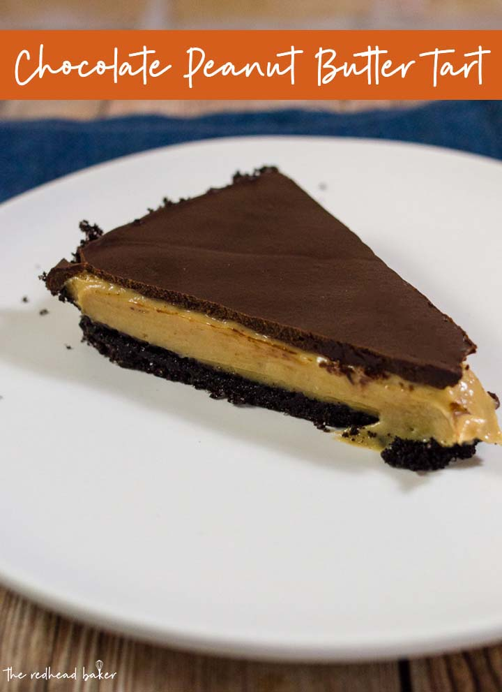 This decadent chocolate peanut butter tart has a sweet chocolate crust, a custardy peanut butter filling, and a rich chocolate glaze. It uses just a few ingredients, and requires almost no baking!