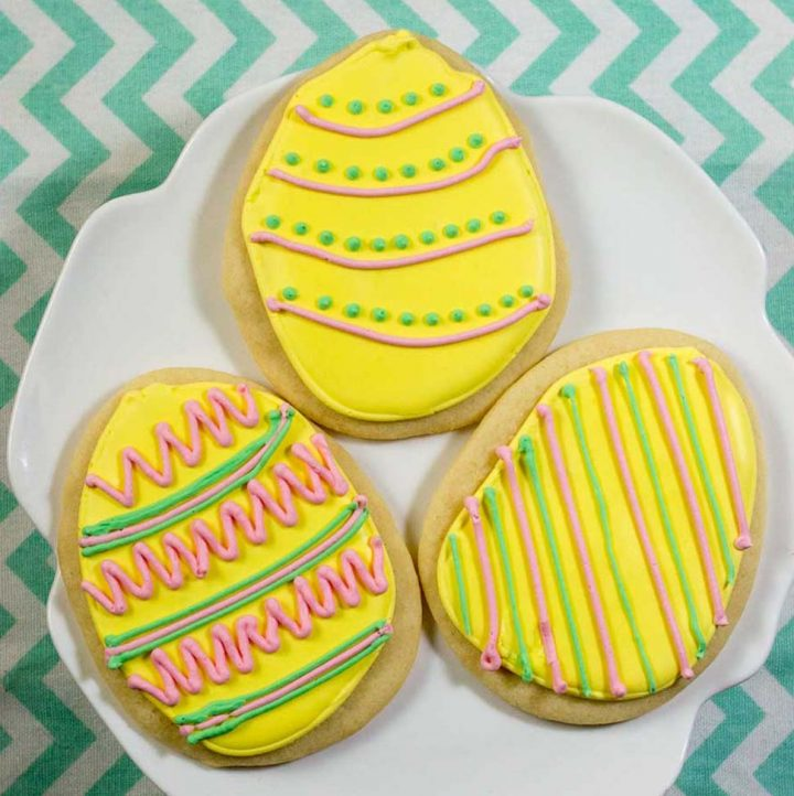 These Easter Egg Sugar Cookies are an adorable treat that you can display in your basket or on your table.