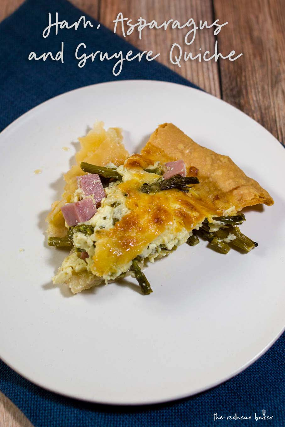 This ham, asparagus and gruyere quiche is ideal for brunch for a crowd: it should be made ahead, can be served at room temperature, and it's delicious!