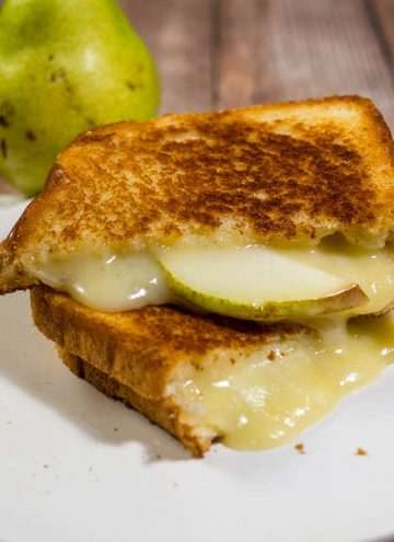 This gourmet grilled cheese sandwich with taleggio cheese and thin slices of pear is the perfect way to celebrate National Grilled Cheese Month!