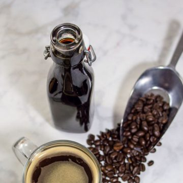 It's so easy to make your own delicious hazelnut coffee syrup at home! It only takes three ingredients and a few minutes.