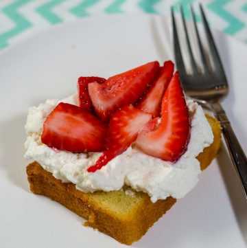 Strawberry shortcake pound cake is a slight twist on a classic. Instead of shortcakes (biscuits), I use toasted slices of pound cake topped with macerated strawberries and fresh whipped cream. #BrunchWeek
