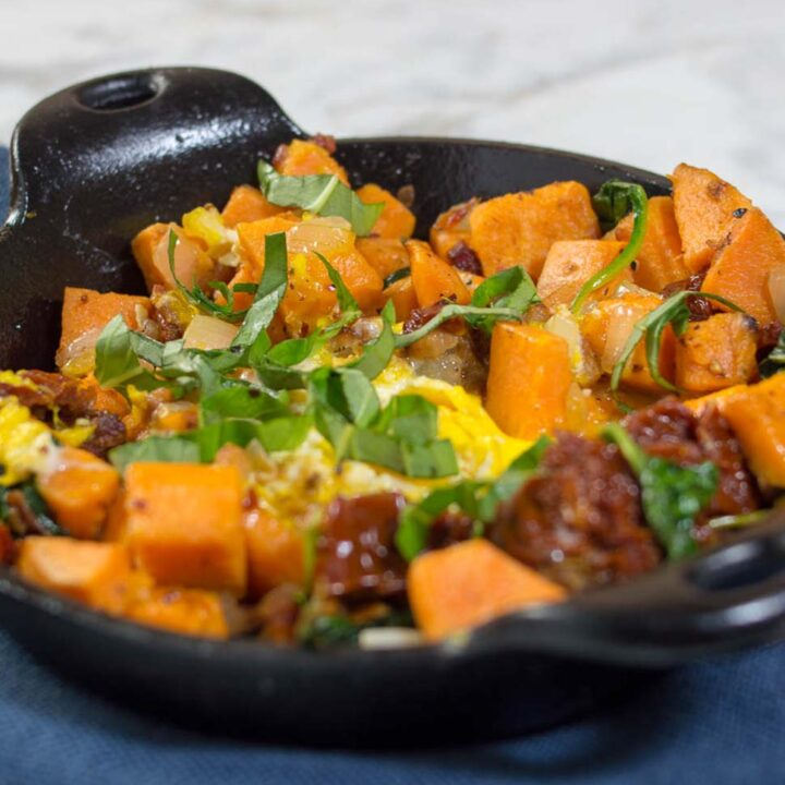 Sweet Potato Hash with Pancetta, Sun-Dried Tomatoes and Spinach