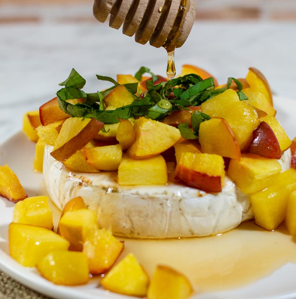 Honey, Basil and Peach Baked Brie