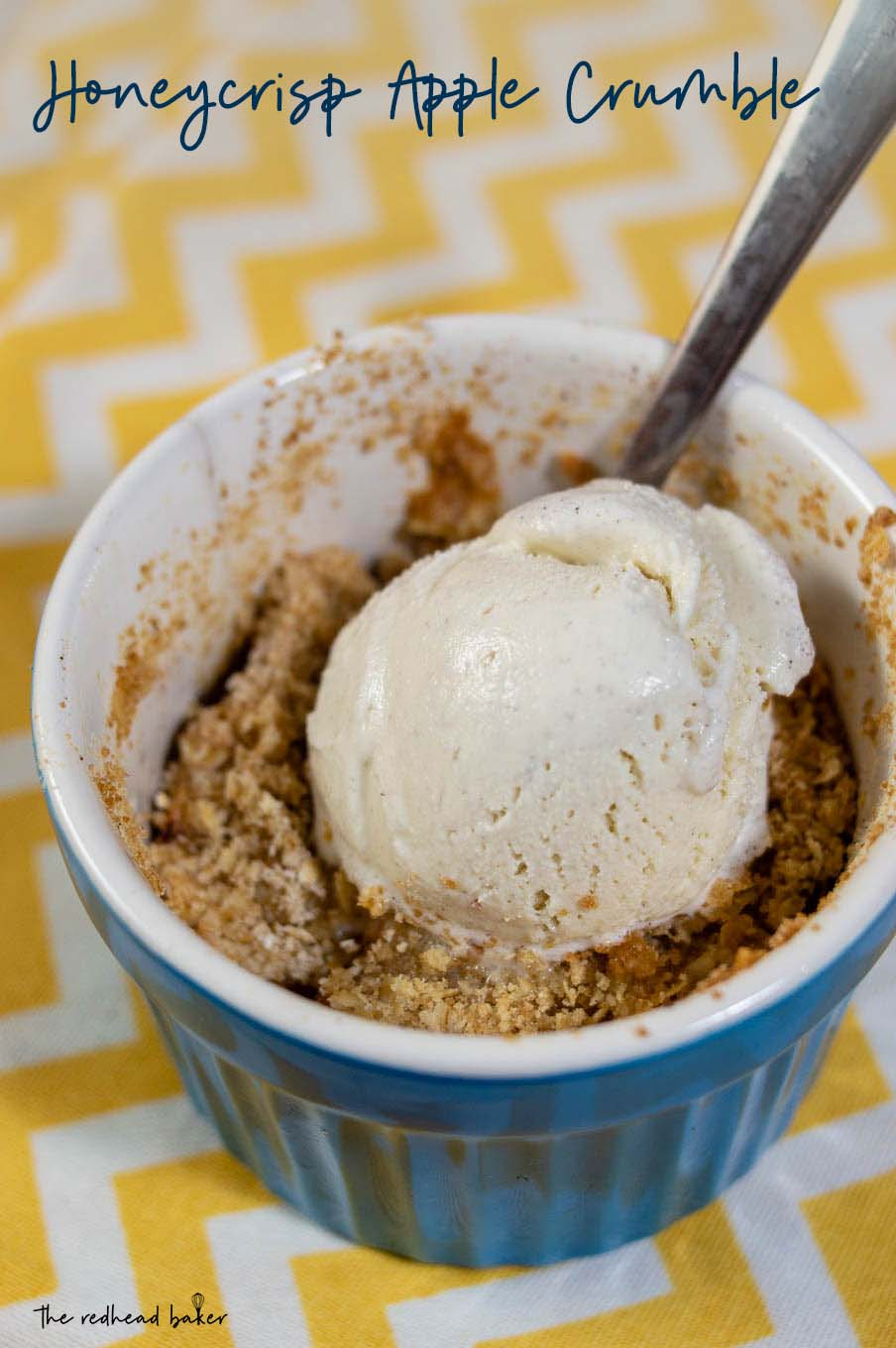 Honeycrisp apple crumble is an easy, delicious dessert. The chopped apples are baked with an oat/brown sugar topping. Add ice cream just before serving, which melts into a creamy sauce.