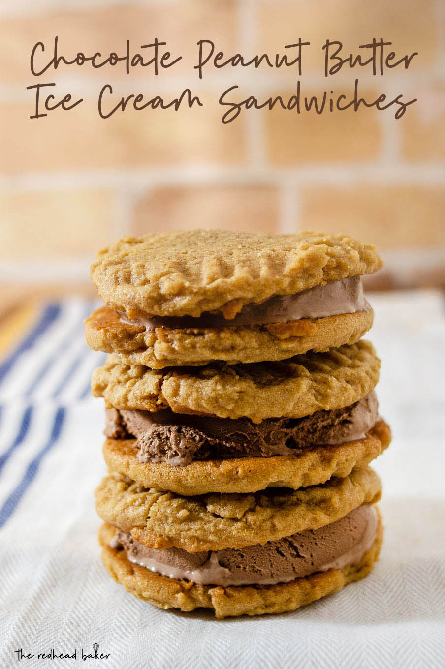 A stack of three chocolate peanut butter ice cream sandwiches