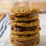 A stack of three peanut butter ice cream sandwiches