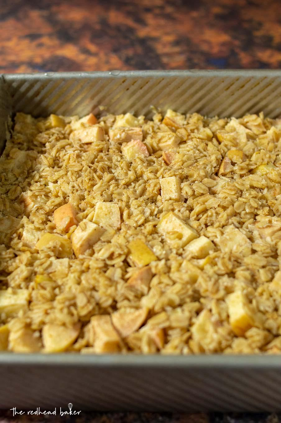 A pan of chai-spiced baked apple oatmeal