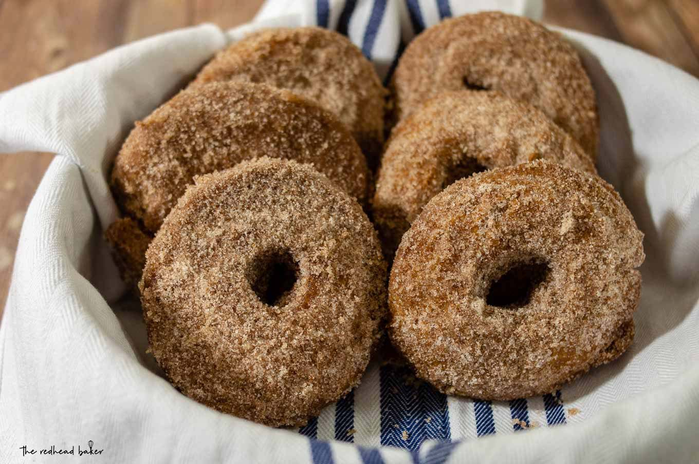 Six cider doughnuts in a round dish.
