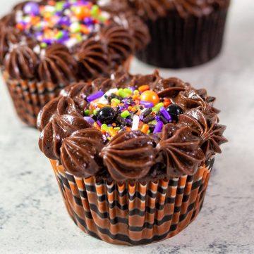 A close-up of a chocolate cauldron cake