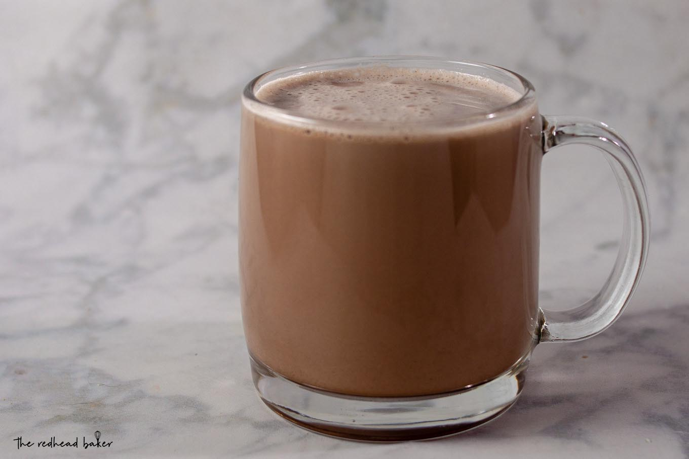 A mug of creamy hot chocolate
